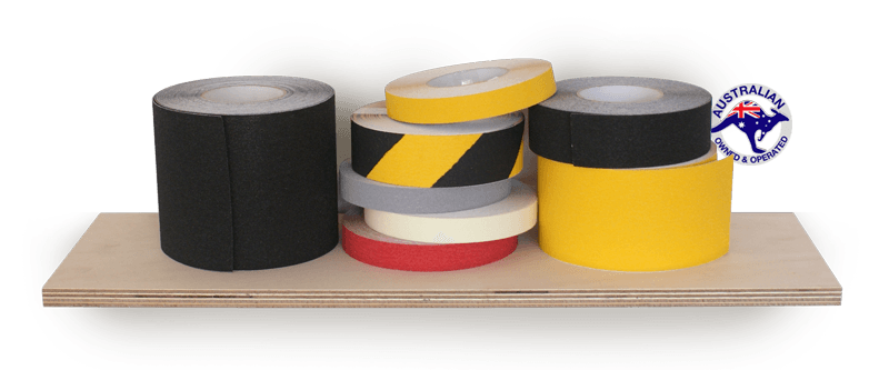 Stack of SafeLine Anti Slip tape in black, yellow, grey, red and hazard